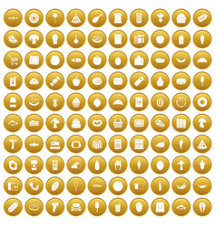 100 food shopping icons set gold vector image vector image