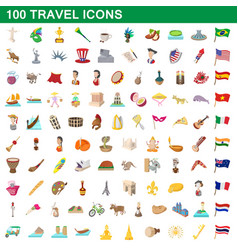 100 travel icons set cartoon style vector image