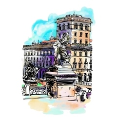 Freehand watercolor travel card from rome italy vector