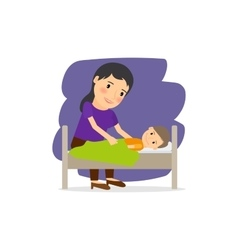 Mother care for the child vector image
