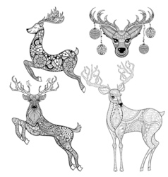 Christmas reindeer set in patterned style for vector