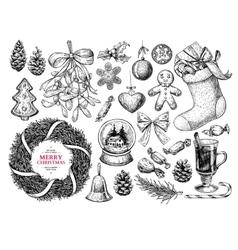 Christmas object set Hand drawn vector image