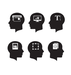 Think heads with print and design icons vector image