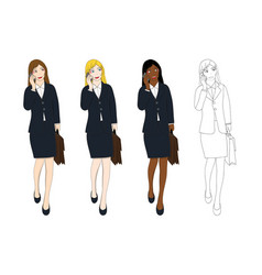 Business woman talking phone and holding vector