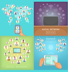 Social network banner set cartoon style vector