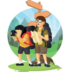 Cartoon of backpacker boy girl enjoying vacation vector