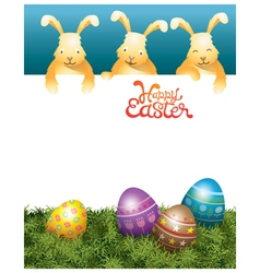 Three bunnies on top and easter eggs vector