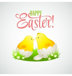 Easter card with chickens and eggs vector
