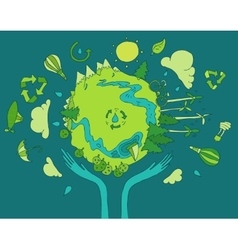 Eco friendly green energy concept flat vector