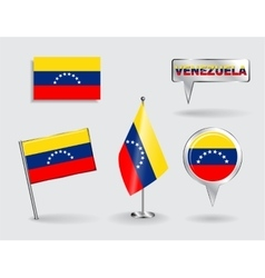Set of venezuelan pin icon and map pointer flags vector