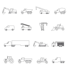Heavy machinery simple outline icons set eps10 vector