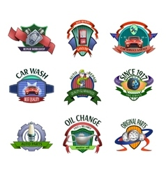 Auto mechanic service emblems set vector