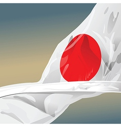 Japan flag wave in the wind of win vector