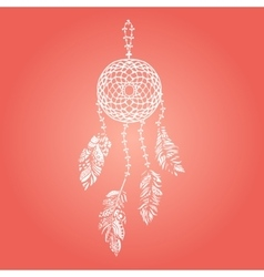 Hand drawn white dream catcher with vector