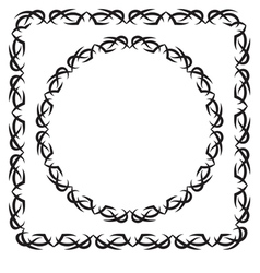 Set square and round decorated frame vector