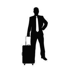 Man with travel bag silhouette in black vector