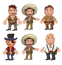 Five men characters in a cartoon wild west style vector