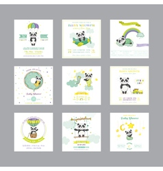 Baby shower card arrival baby card baby panda vector