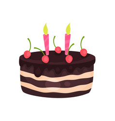 Birthday cake with three burning candles and red vector