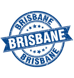 Brisbane blue round grunge vintage ribbon stamp vector