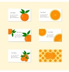 Business cards with ripe juicy orange fruit vector
