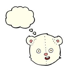 Cartoon polar teddy bear head with thought bubble vector