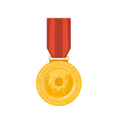 champion golden medal with red ribbon icon vector image vector image