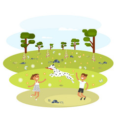 children with dalmatian vector image