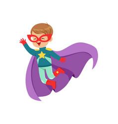 comic cute flying kid in colorful superhero vector image