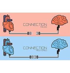 Connection of brain and heart plug concept vector