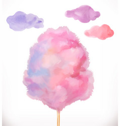 cotton candy sugar clouds watercolor vector image vector image