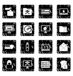 Criminal activity set icons grunge style vector