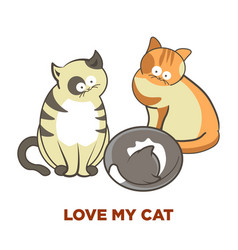 Cute cats pets or kittens playing or posing vector