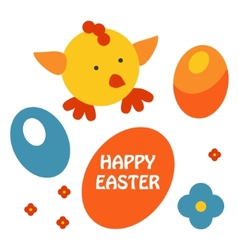 easter egg and chicken card vector image vector image