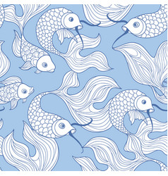 fish seamless pattern hand drawn doodle line vector image