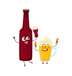 Funny beer bottle and glass characters having fun vector