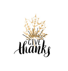 give thanks lettering maple leaf hand vector image vector image