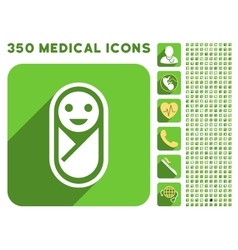 Infant icon and medical longshadow icon set vector