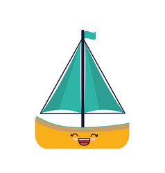 Kawaii sailboat icon vector