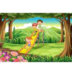 Kids sliding at the forest vector image vector image
