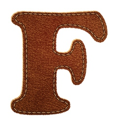 Leather textured letter F vector image vector image