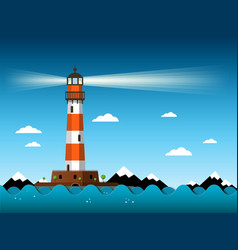 Lighthouse with waves on sea building with vector