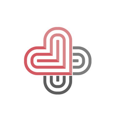 Logo of two color heart like sign medicine vector