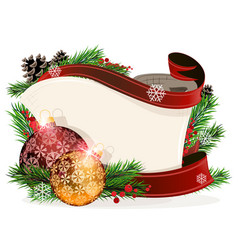 Paper scroll with red and orange ornaments vector