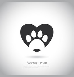 Paw print inside heart icon vector