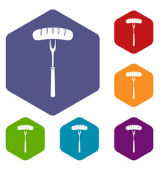 Sausage on bbq fork icons set hexagon vector