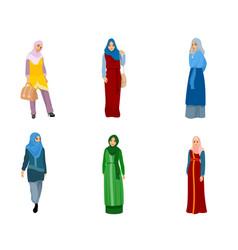 Set of muslim women vector