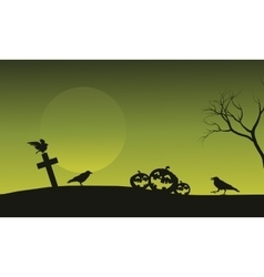 Silhouette of pumpkin and crow in tomb halloween vector