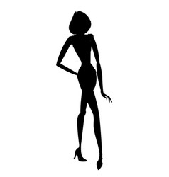silhouette of young beautiful girl posing with vector image