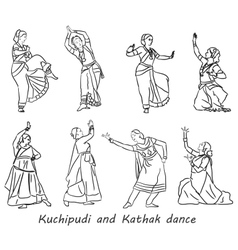 Silhouettes indian dancers vector